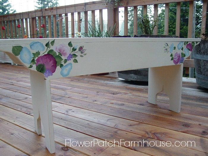 DIY Garden Farmhouse Bench hand painted with Roses, FlowerPatchFarmhouse.com