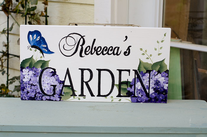 Rebeccas Garden hand painted sign, FlowerPatchFarmhouse.com