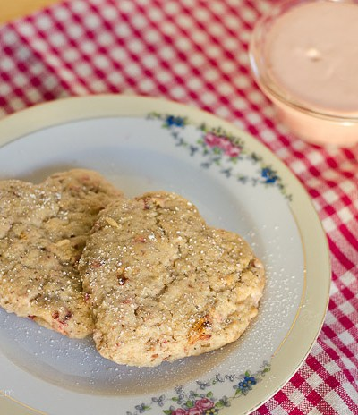 Strawberry Cream Scones with Toasted Almonds, FlowerPatchFarmhouse.com