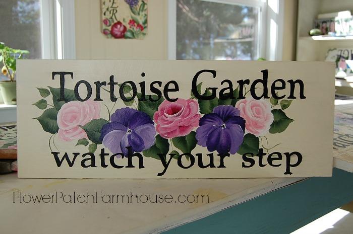 Tortoise Garden sign, FlowerPatchFarmhouse.com