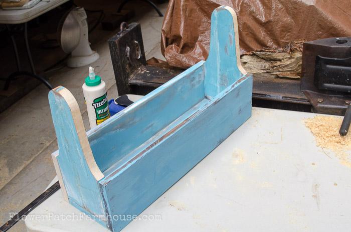 Build a Blue Rustic Toolbox DIY, FlowerPatchFarmhouse.com