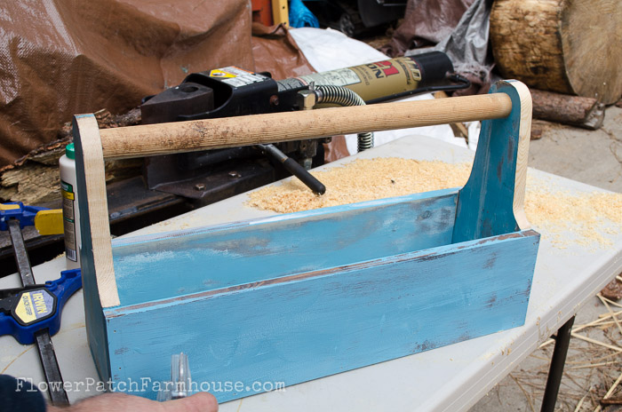 Build a Blue rustic Tool Box DIY, FlowerPatchFarmhouse.com