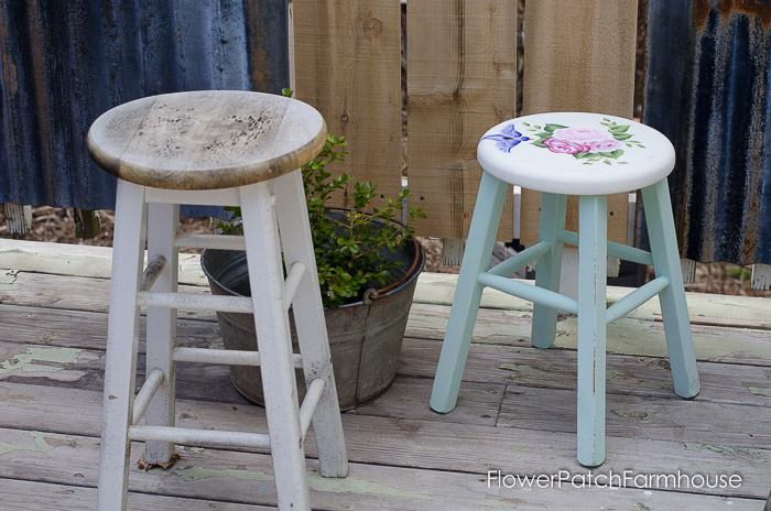 Shabby lil stool gets a new life, FlowerPatchFarmhouse.com