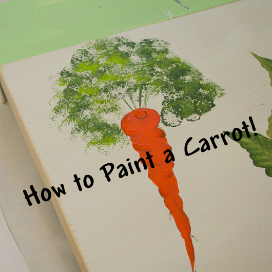 How to paint a Carrot, easy step by step lesson with video, FlowerPatchFarmhouse.com