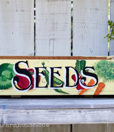 Hand painted Vintage seed box planter, DIY from fence boards, FlowerPatchFarmhouse.com