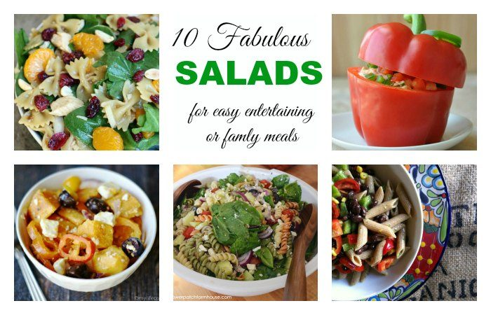 A round up of 10 Fabulous Salad recipes for easy entertaining or family meals, FlowerPatchFarmhouse.com