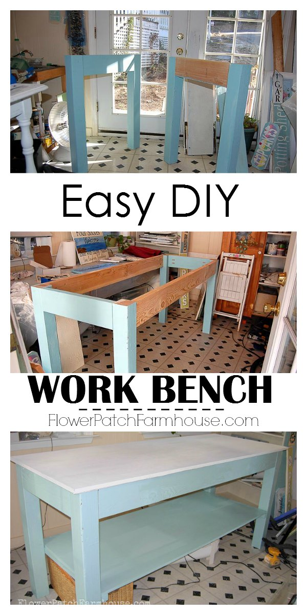 This easy DIY workbench is my favorite DIY to date.  It is the best thing for my painting, crafts and wrapping for shipping.  Being counter height it saves my back!  You can build this too.