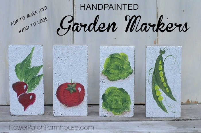 hand painted garden markers on bricks fun to make and hard to lose flowerpatchfarmhouse - Brick Garden 2015