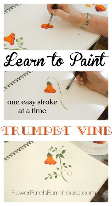 Learn How to Paint Beautiful Trumpet Vine one stroke at a time. FlowerPatchFarmhouse.com