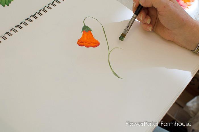 Learn how to paint Trumpet Vine, FlowerPatchFarmhouse.com (18 of 20)