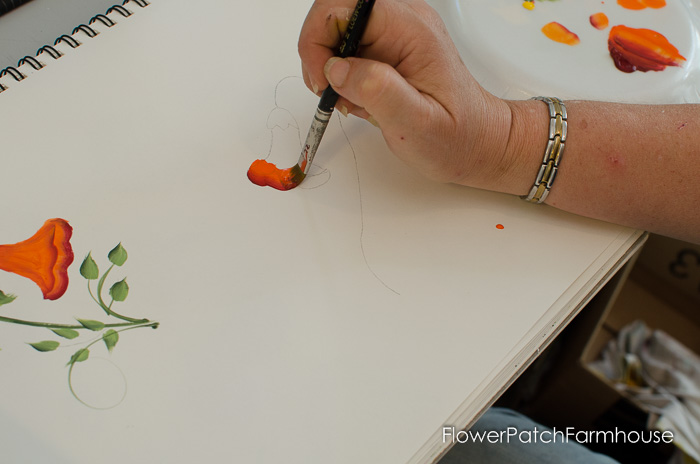 Learn how to paint Trumpet Vine, FlowerPatchFarmhouse.com (2 of 20)