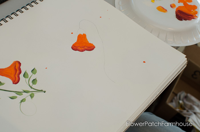 Learn how to paint Trumpet Vine, FlowerPatchFarmhouse.com (6 of 20)