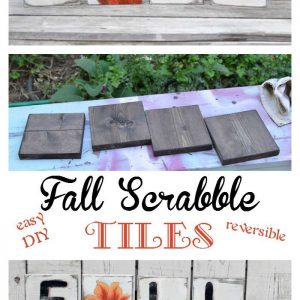 Easy DIY Fall Scrabble Tiles for your decor! Pumpkin and leaf painting tutorials included! Use up that scrap wood. FlowerPatchFarmhouse.com