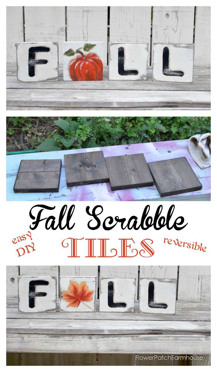 Paint Fall with this easy DIY Scrabble Tile tutorial. Reversible for two looks.  Complete instructions.