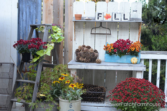 A DIY Potting bench all gussied up for Fall with lots of DIY projects! FlowerPatchFarmhouse.com