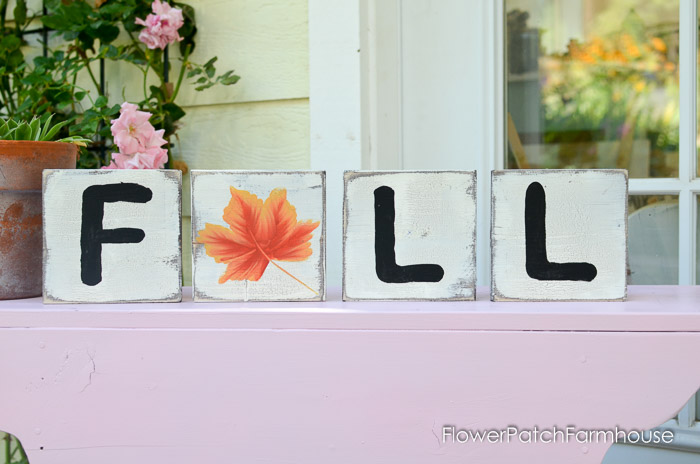 Fall Scrabble tile decor with a painted leaf, FlowerPatchFarmhouse.com