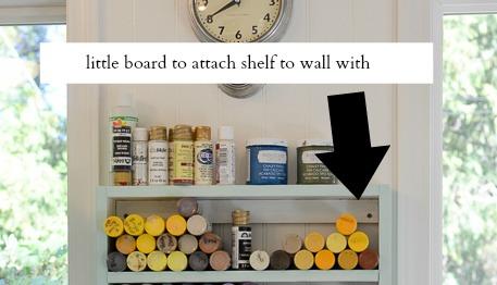 DIY cubby shelf for paint bottles, FlowerPatchFarmhouse.comjpg