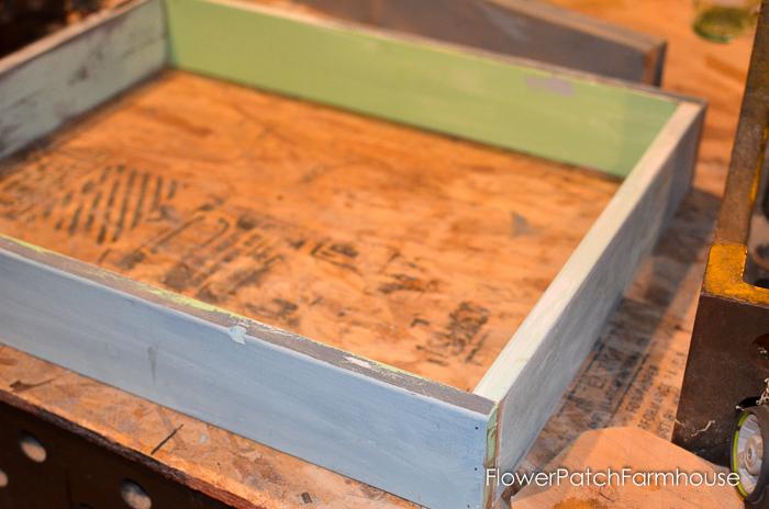DIY cubby shelf for paint bottles beginning, FlowerPatchFarmhouse.com