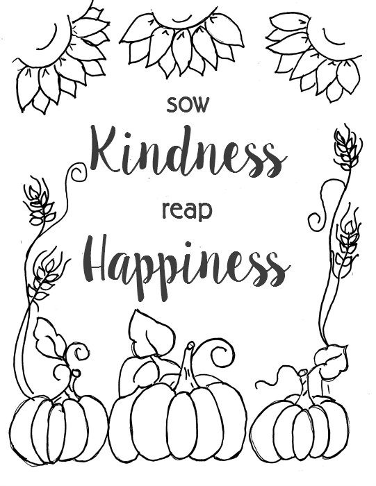 Downloadable Fall printable coloring page with pumpkins and sunflowers, FlowerPatchFarmhouse.com