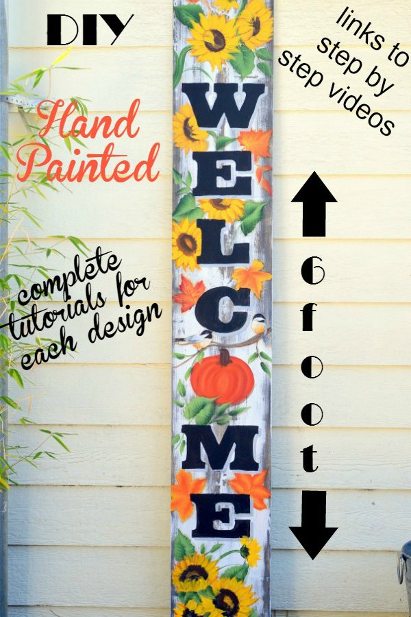 Large Fall Welcome sign with text overlay. Hand painted, 6 foot sign