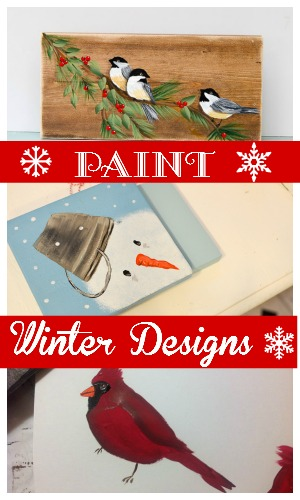 Easy and fun winter design painting lessons for beginners.  Using craft acrylics and a few brushes you can create hand made gifts, unique wrapping paper, or just enjoy the relaxing nature of painting for yourself.