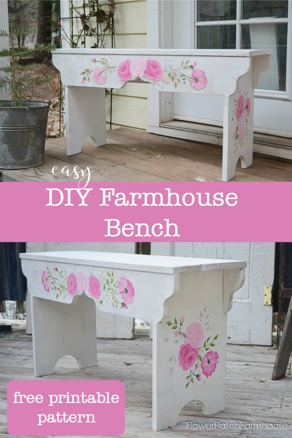 Easy to build DIY farmhouse bench aka Sweetheart bench. Use this fun DIY build in your garden, home or anywhere you need extra seating! Simple enough for beginners and linked to painting instructions for the roses. A free printable cut pattern for the front and legs is available. #diydecor #benches #diybench #farmhouse #cottage