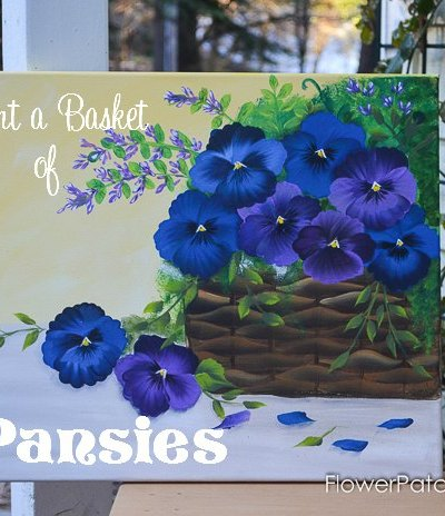 Paint a Basket of Pansies on Canvas, come and paint along with me, step by step video!