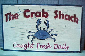 Crab Shack hand painted sign. Vintage vibe beach and coastal signs.