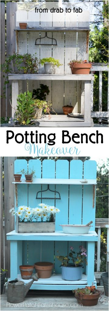 "DIY Potting Bench Makeover, just a coat of paint and this went from Drab to Fab. Easy to apply with a great farmhouse finish. Add one of these DIY potting benches to your 'to do"" list today! Great for so many things."