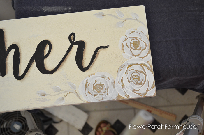 How to Paint a Gather sign with Boho Roses. A gorgeous hand painted sign in neutral tones and a bit of glam. Easy to paint Boho Roses and lettering make this an easy but fun project for everyone!