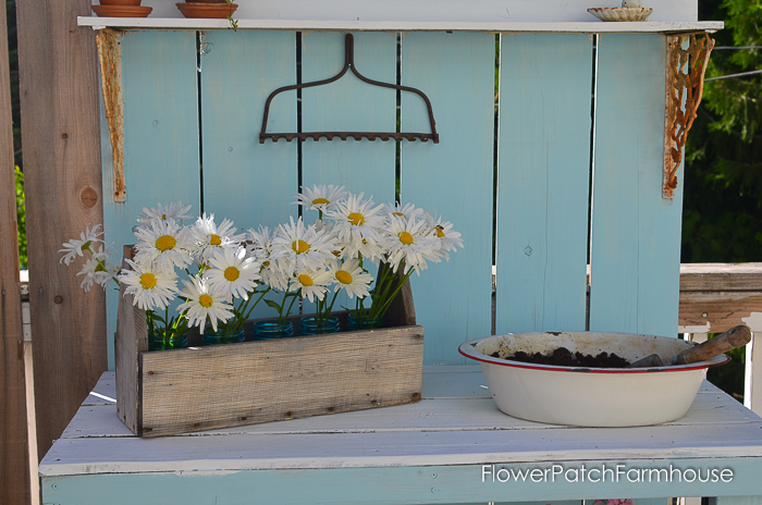 DIY Potting Bench Refresh with chalk finish paint from Plaid Crafts