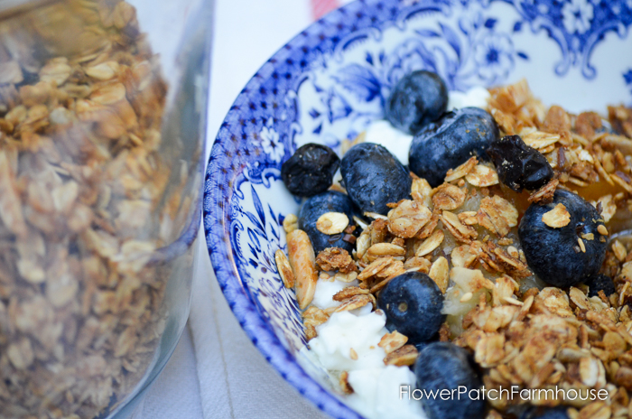 Simple homemade granola, easy breakfast recipe or topping for ice cream, cottage cheese or yogurt.