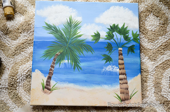 Easy and fun, How to Paint a Tropical Beach Scene. This fun to paint scene will wisk you away to warm weather and soft ocean breezes. This free painting tutorial is great for everyone to try, even the kids.