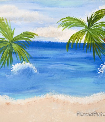 How to Paint Palm Trees in acrylics. Add them to the Easy Beach painting for a tropical feel. Simple directions, step by step with video.