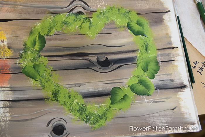 leaves painted on heart wreath