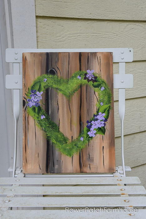 Paint a Mossy Heart Wreath for beginners