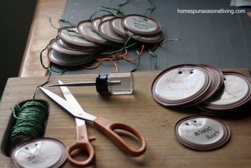 jar lid garden markers