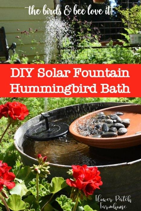 Diy Solar Fountain Hummingbird Bath Flower Patch Farmhouse