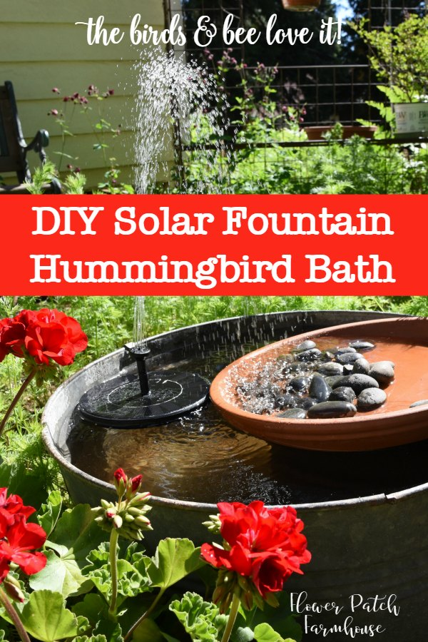 Create a fun and easy DIY Solar Fountain for Hummingbirds! You can easily do this and what is great is you don't need anywhere to plug in for electricity! #diyfountain #hummingbirdbath #cottagegarden #smallgardenideas