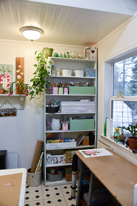 She shed makeover, book case storage and organization