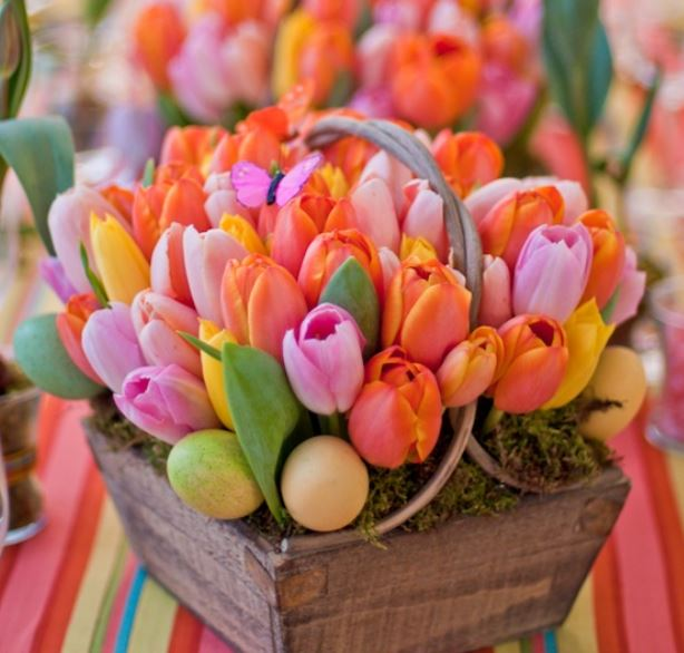 Easter Flowers Pictures  50 Pics  Beautiful tuplis Easter flowers arrangement with Easter eggs photos JPG