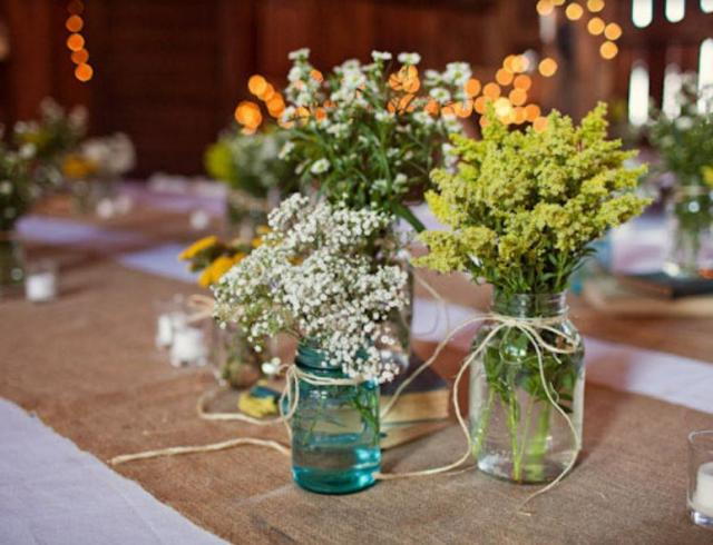 Cute And Cheap Wedding Centerpieces With Nutaral Flowers