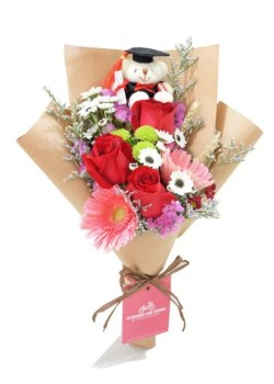red rose graduation bouquet