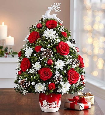 Santa's Sleigh Ride Holiday Flower Tree