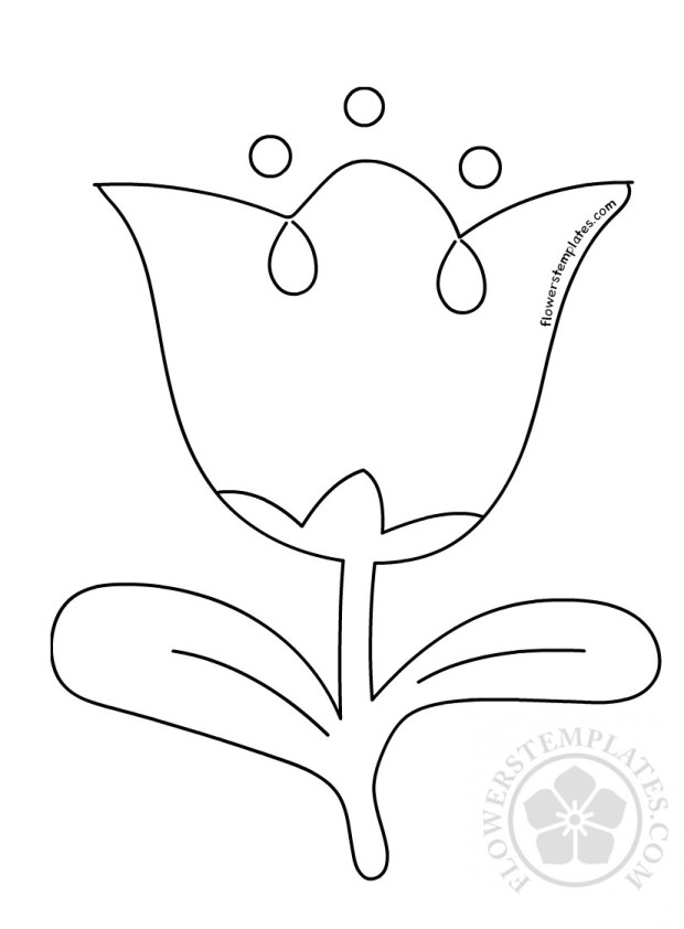Simple Tulip Outline Flower Coloring Page Flowers Templates