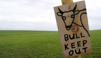 Sign saying no bull keep out