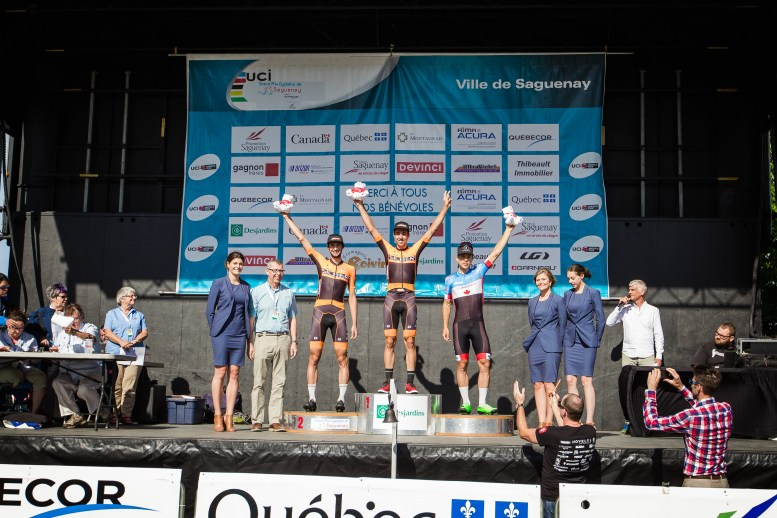 Emile Jean takes the win with Stephen Basset 2nd and Guillaume Boivin 3rd ©Vincent Drouin - VeloGazette.ca
