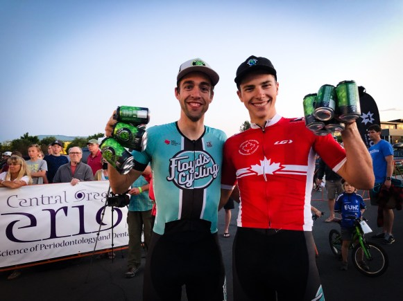 Emile and Zuke with their haul of Worthy Beer after hitting the podium at the crit ©Jen Agan