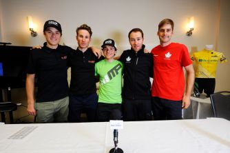 With Team Canada riders: L-R David Drouin, Ryan Anderson and Hugo Houle