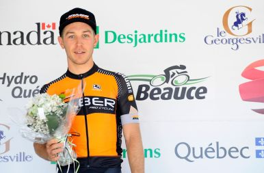 Stg 4: After battling injury all of 2017, Danick Vandale gets onto the podium. Gotta love this guy's heart. ©VeloImages